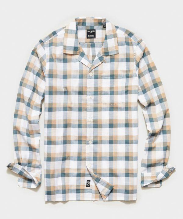 Italian Check Camp Collar Long Sleeve Shirt in Cream