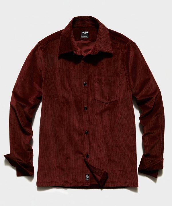 Italian Corduroy Overshirt in Rust