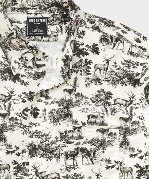 Italian Deer Print Flannel Button Down Shirt