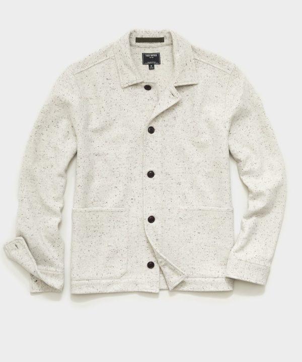 Italian Donegal Knit Chore Coat in Cream