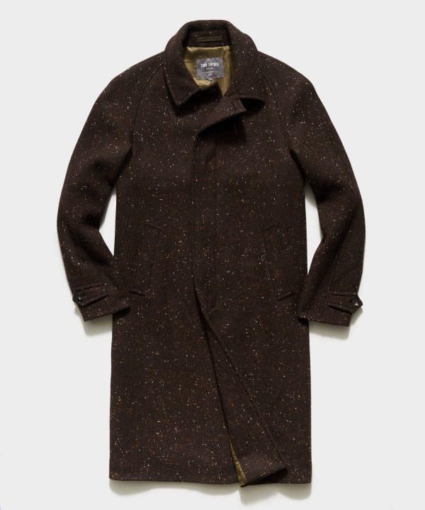 Italian Donegal Twill Balmacaan Coat in Brown