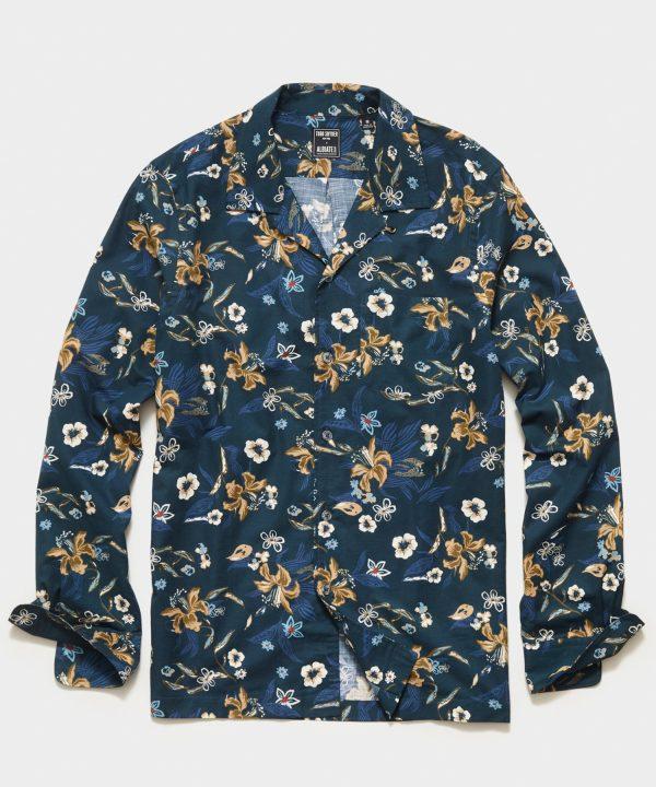 Italian Floral Camp Collar Long Sleeve Shirt in Navy