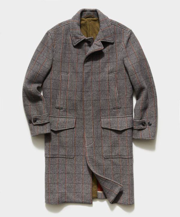 Italian Glen Plaid Topcoat in Brown
