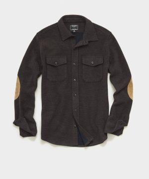 Italian Herringbone CPO Shirt in Dark Brown