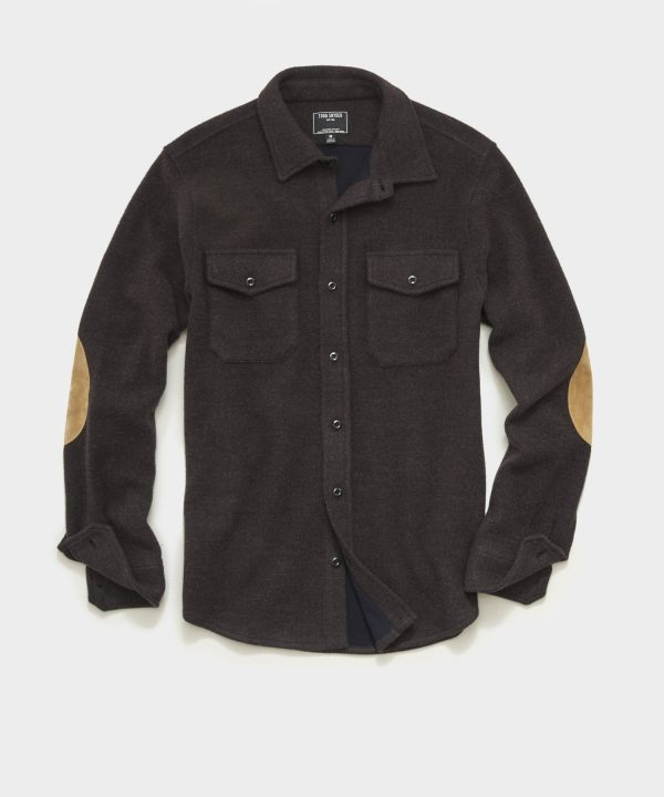 Italian Herringbone CPO Shirt in Dark Brown