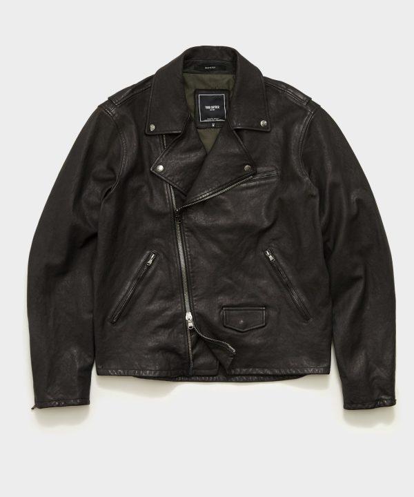 Italian Leather Moto Jacket in Black