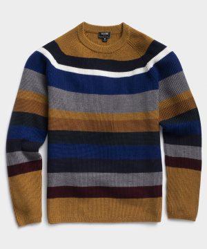 Italian Merino Bold Stripe Waffle Crew Sweater