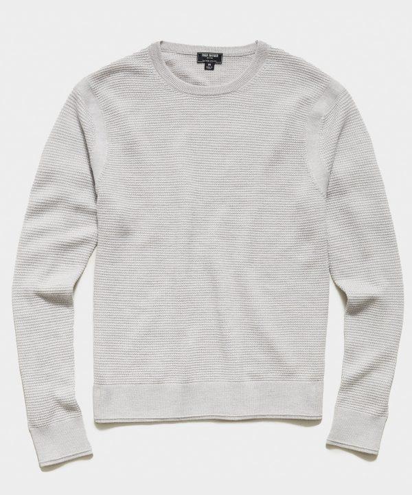 Italian Merino Waffle Crew Sweater in Dove Grey