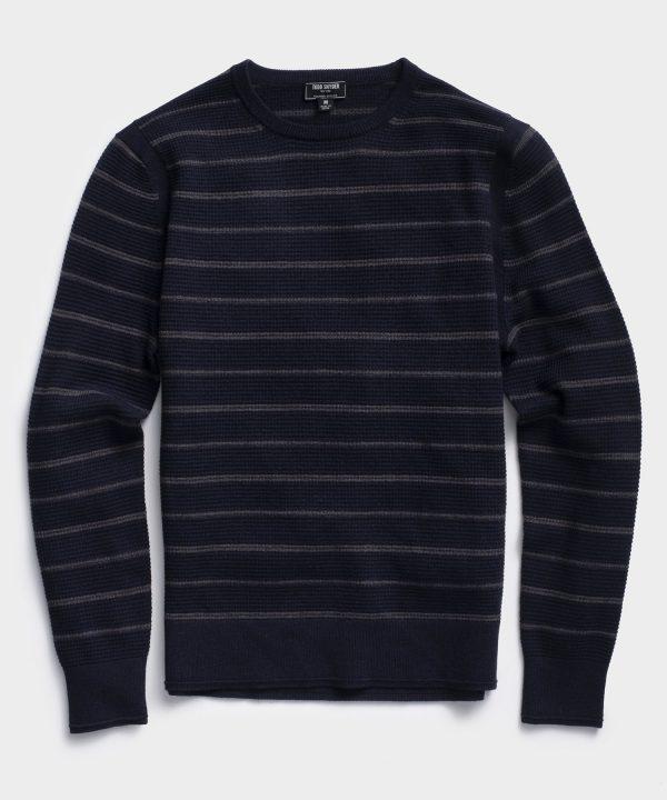 Italian Merino Waffle Stripe Crewneck Sweater in Navy