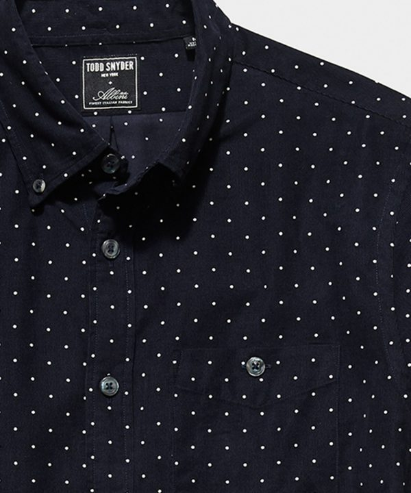 Italian Micro Cord Dot Shirt in Navy