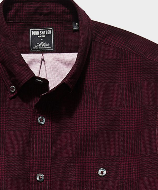 Italian Micro Cord Glen Plaid Shirt in Burgundy