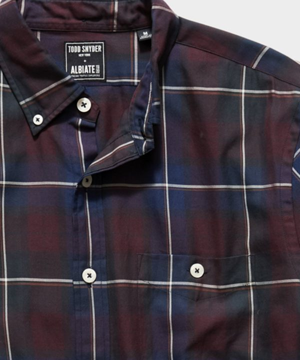 Italian Navy Burgundy Plaid Flannel Shirt