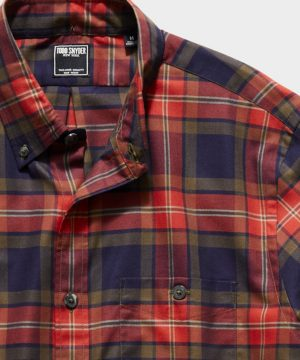 Italian Navy Red Check Flannel Button Down Shirt