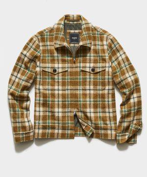 Italian Plaid Boucle Zip Guide Jacket in Green