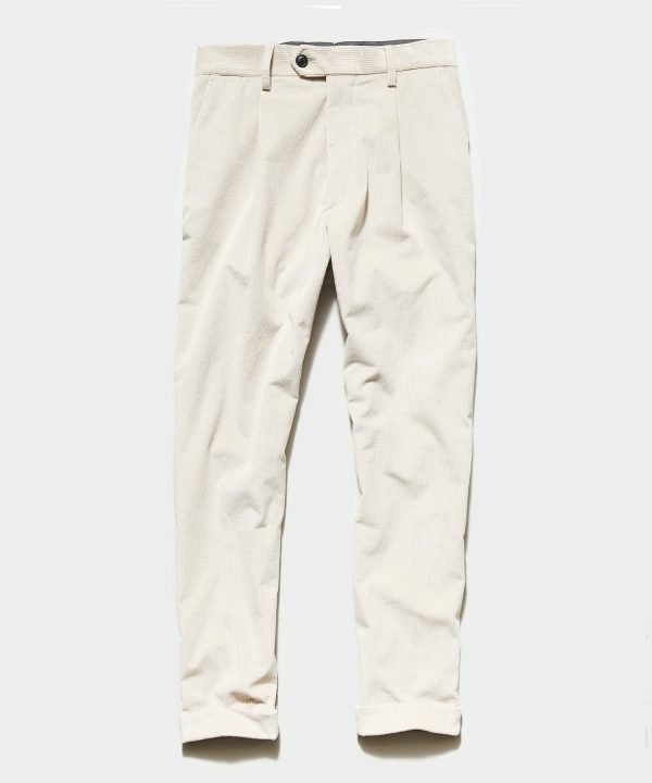 Italian Pleated Cord Madison Trouser in Stone