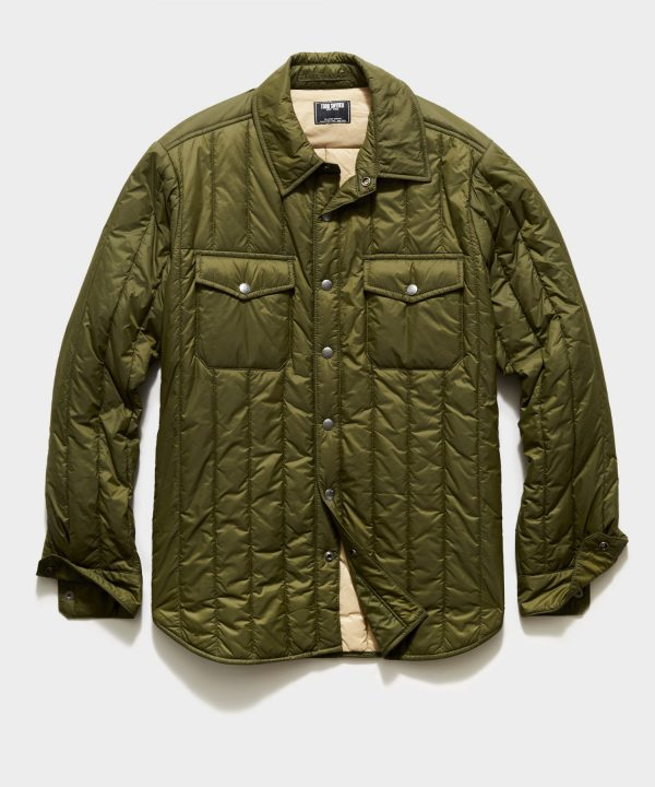 Italian Quilted Liner Jacket in Olive