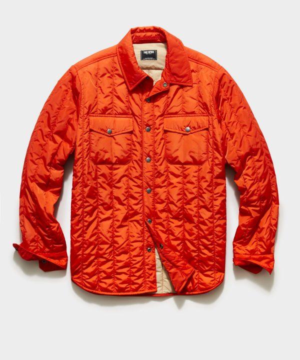 Italian Quilted Liner Jacket in Orange