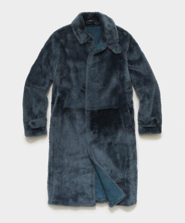 Italian Shearling Balmacaan Coat in Blue