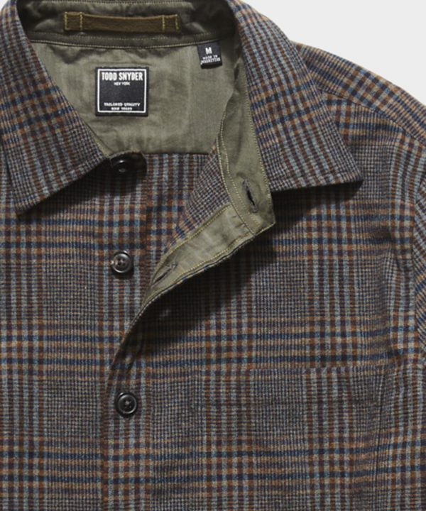 Italian Suede Elbow Patch Shirt Jacket in Brown Plaid