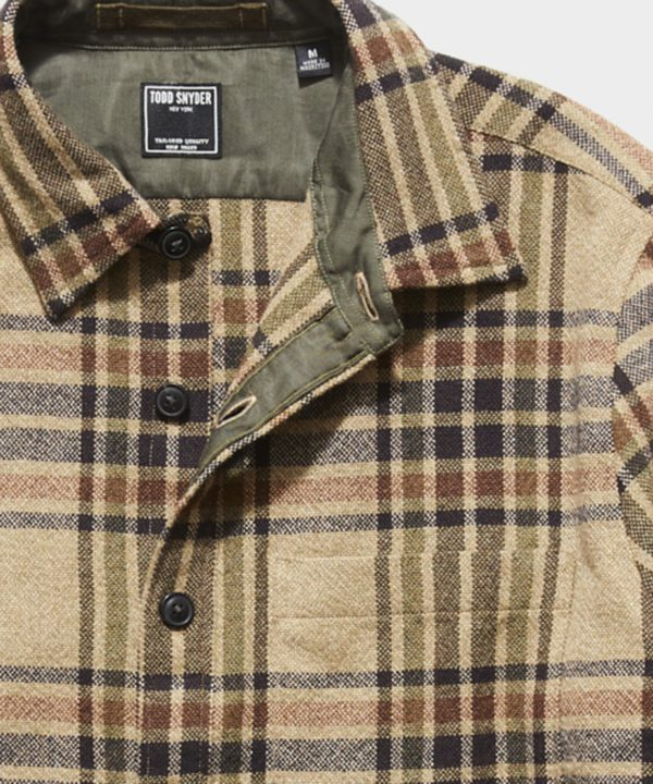 Italian Suede Elbow Patch Shirt Jacket in Olive Tan Plaid