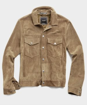 Italian Suede Snap Dylan Jacket in Cappuccino