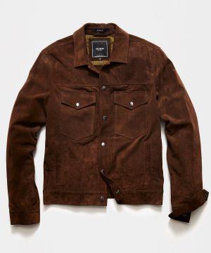 Italian Suede Snap Dylan Jacket in Dark Brown