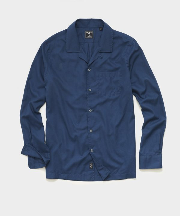 Italian Twill Camp Collar Shirt in Blue
