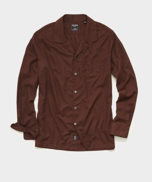 Italian Twill Camp Collar Shirt in Rustic Red