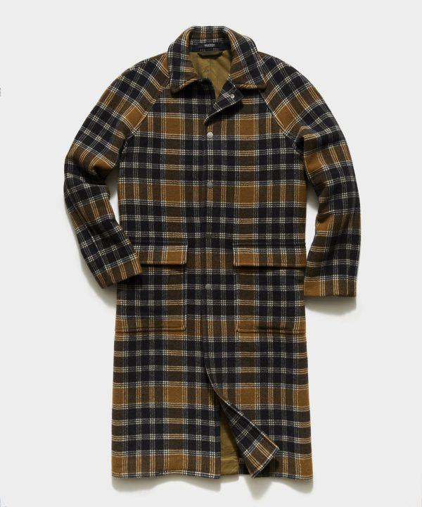 Italian Wool Snap Raglan Coat in Olive