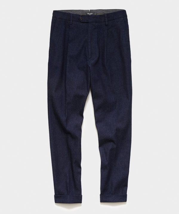Japanese Denim Pleated Pant in Indigo