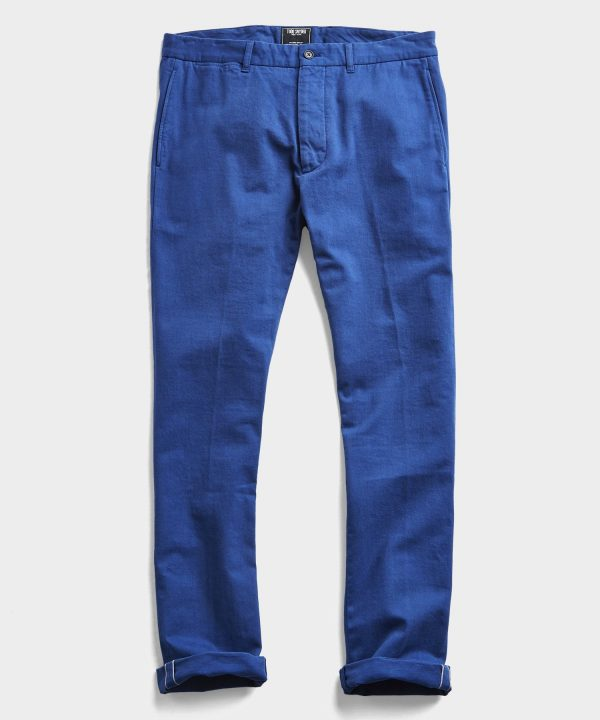 Japanese Garment Dyed Selvedge Chino in French Blue