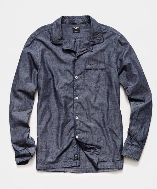 Japanese Tipped Chambray Camp Collar Shirt in Indigo