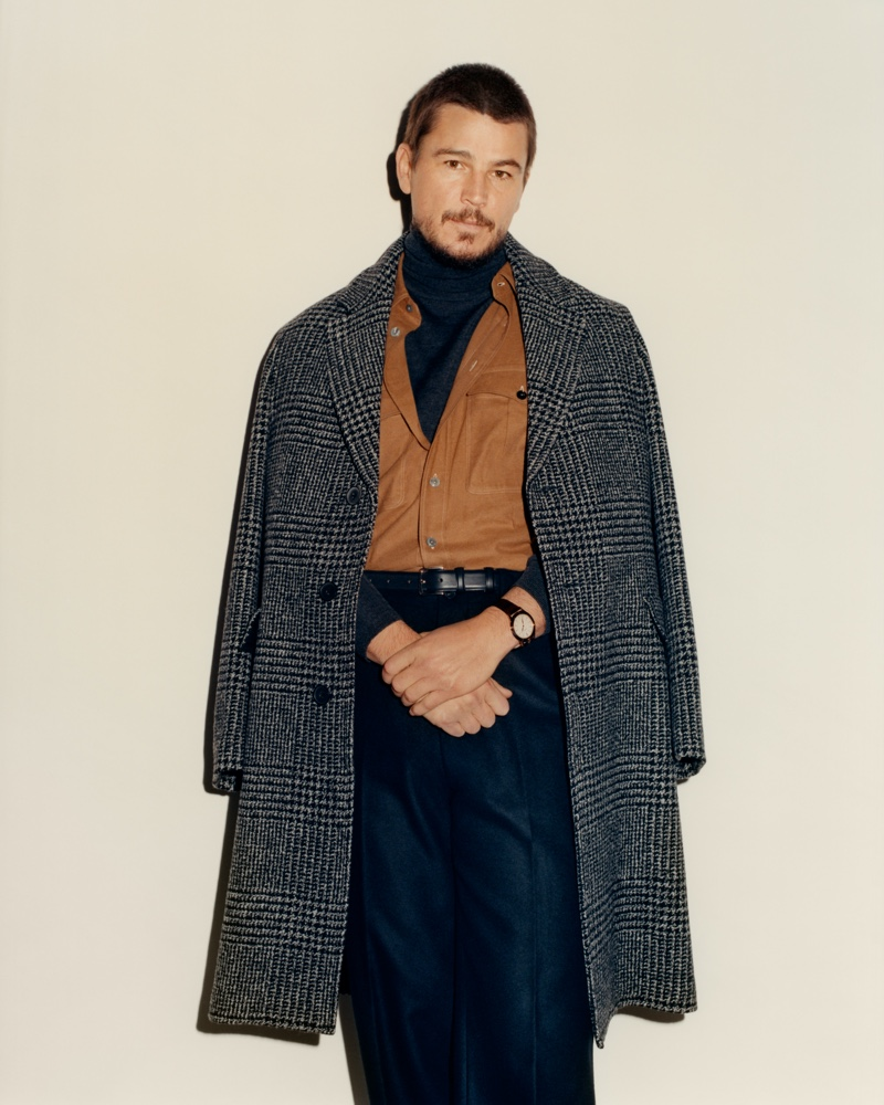 Actor Josh Hartnett wears a Mr P. overcoat and turtleneck sweater with a L.E.J shirt and Auralee trousers for Mr Porter.