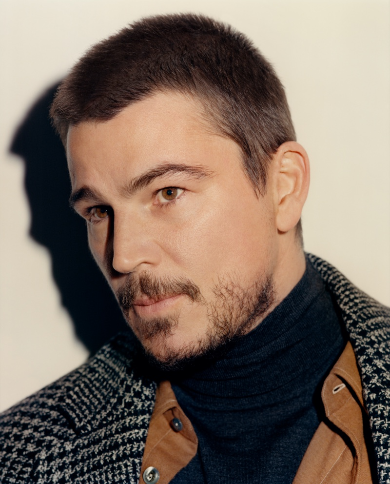 Ben Weller photographs Josh Hartnett for Mr Porter. The actor wears a Mr P. overcoat and turtleneck sweater with a L.E.J shirt and Auralee trousers.