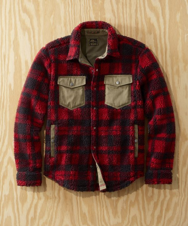 L.L.Bean x Todd Snyder Hi-Pile Sherpa Shirt Jacket in Rust Plaid