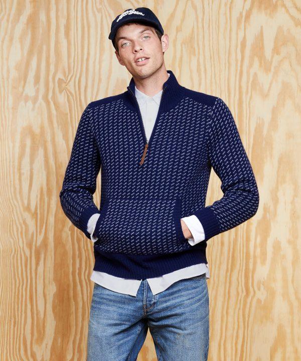 L.L.Bean x Todd Snyder Quarter-Zip Sweater in Navy