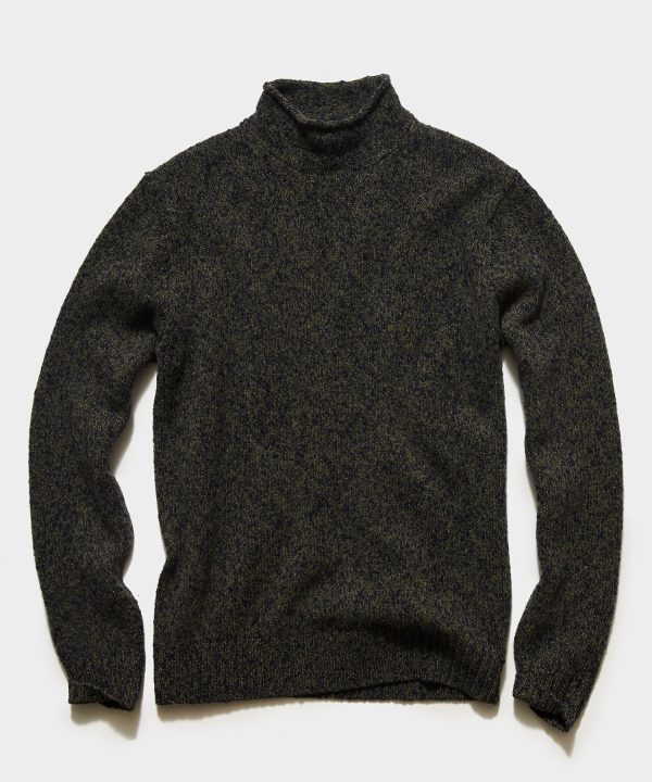 Lambswool Roll Neck Sweater in Olive