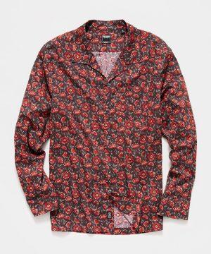 Liberty Camp Collar Long Sleeve Shirt in Brick Floral Print
