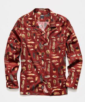 Liberty Camp Collar Long Sleeve Shirt in Feather Print
