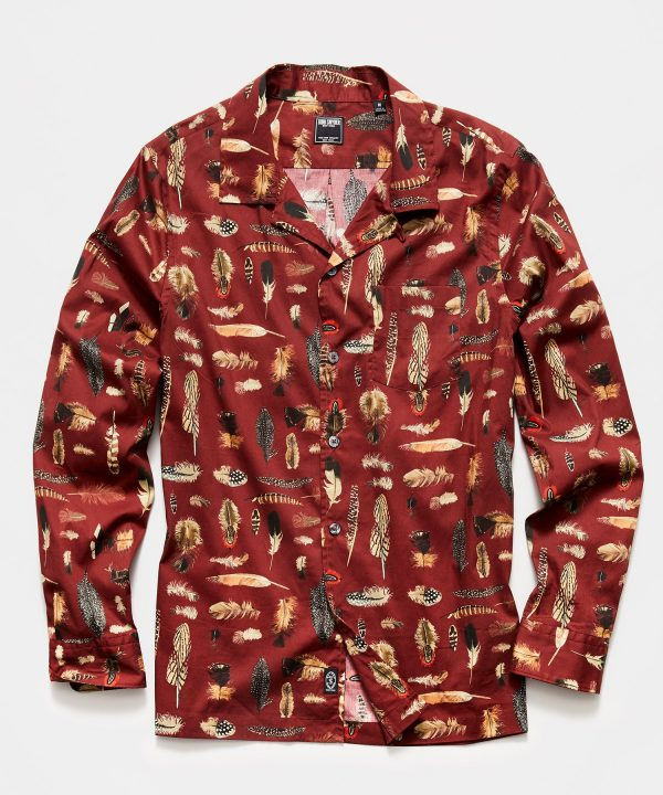 Liberty Camp Collar Long Sleeve Shirt in Feather Print