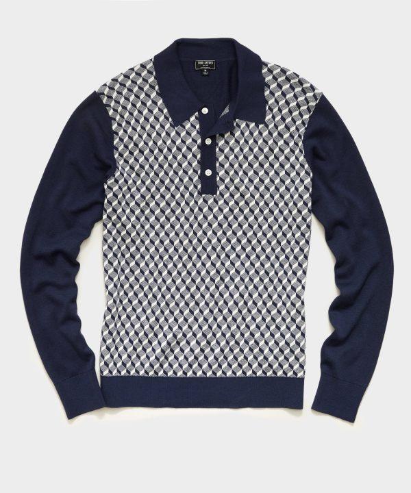 Long Sleeve Geo Pattern Sweater Polo in Navy