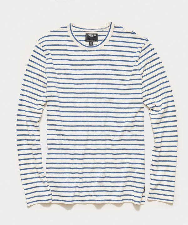 Long Sleeve Japanese Nautical Stripe Tee in Blue