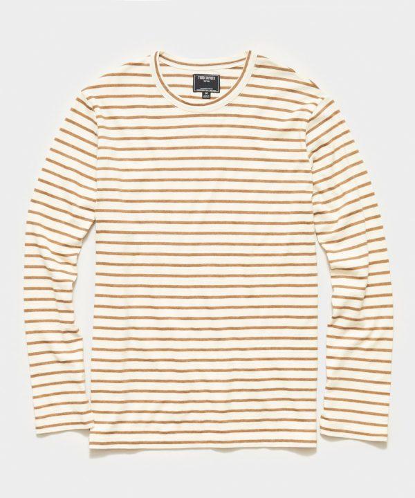 Long Sleeve Japanese Nautical Stripe Tee in Brown