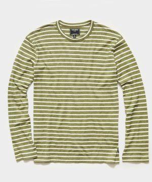 Long Sleeve Japanese Nautical Stripe Tee in Green