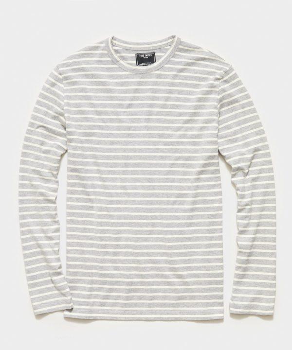 Long Sleeve Japanese Nautical Stripe Tee in Grey