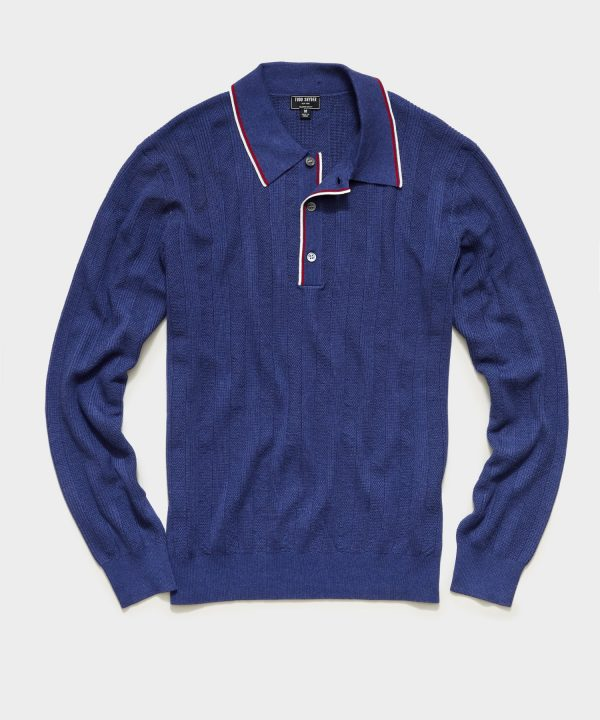 Long Sleeve Tipped Sweater Polo in Blue