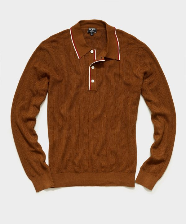 Long Sleeve Tipped Sweater Polo in Chestnut