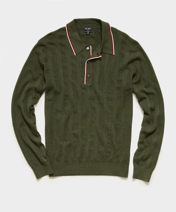 Long Sleeve Tipped Sweater Polo in Olive