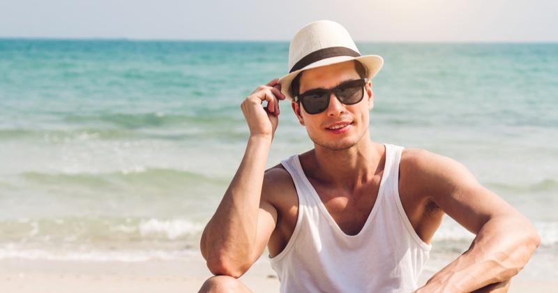 Male Model Beach White Hat Tank