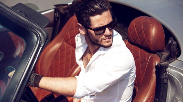 Male Model Luxury Car Convertible White Shirt